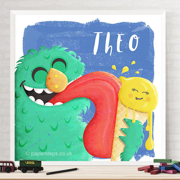 Moster selfie 2 ice cream lick poster kids wall art mockup