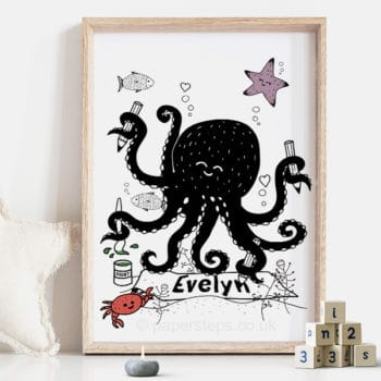 Arty octopus personalised nursery wall art print poster