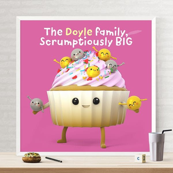 Cupcake family cute wall art print