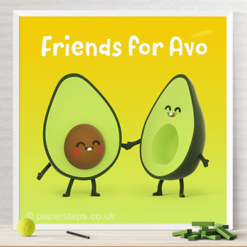 Friends for avo avocado halves characters kids art print