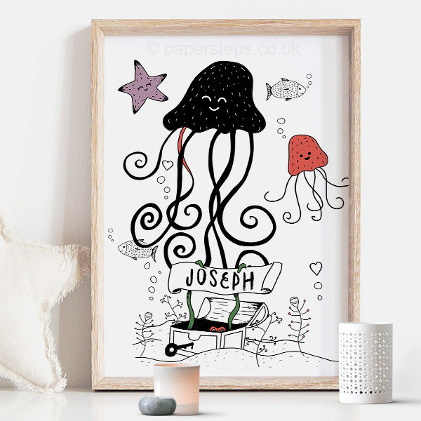 Jellyfish Scandinavian nursery wall art print