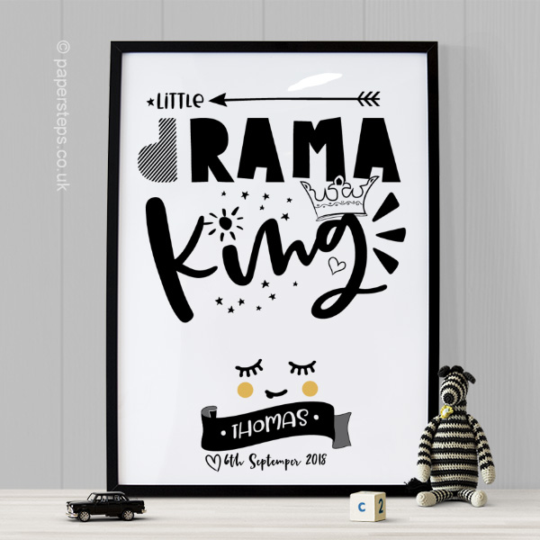 Drama King nursery quote wall art print for boys