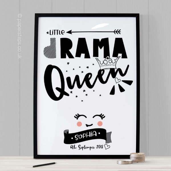 Drama Queen nursery quote art print for girls