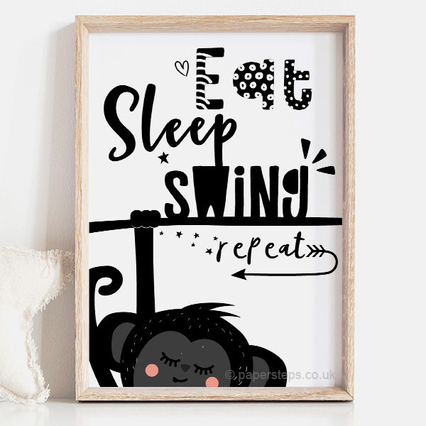 Nursery quote art print - Eat sleep swing repeat with monkey