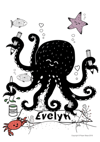 Arty Octopus kids room art print
