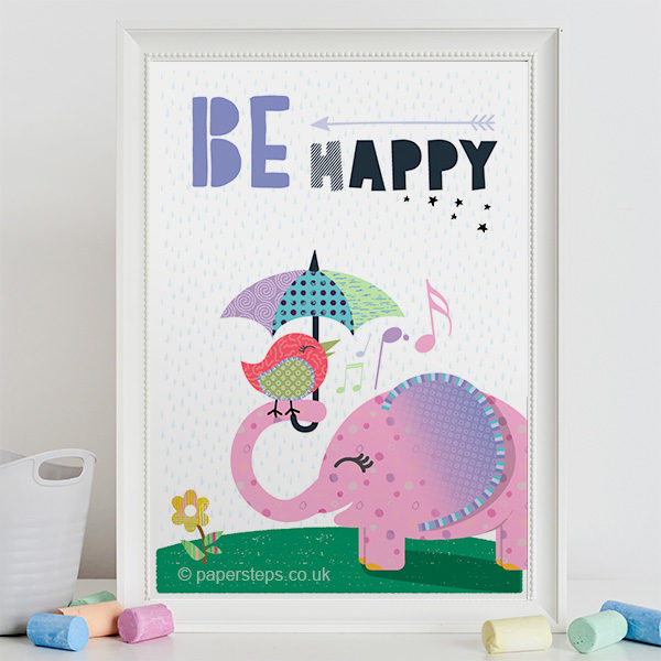 Be happy baby nursery wall art print personalised