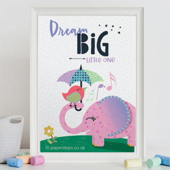 Elephant dream big little one nursery art print in white frame