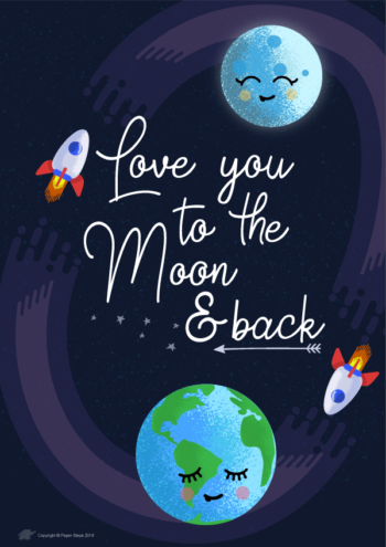Love you to the moon and back nursery art with rocket