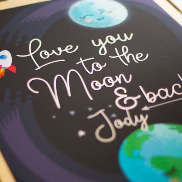 Love you to the moon and back close up detail