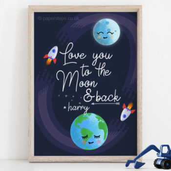 Love you to the moon and back wooden frame kids wall art print