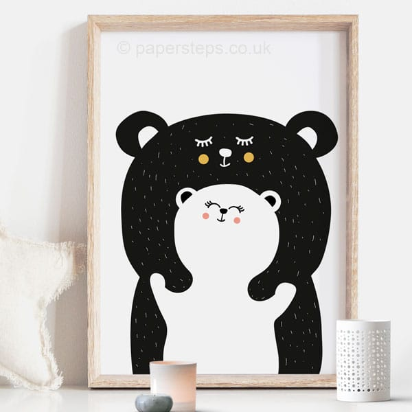 bear hug scandinavian black and white nursery wall art print