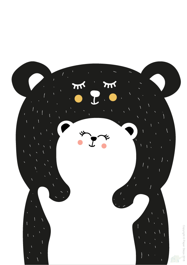 Bear hug nursery kids art wall print