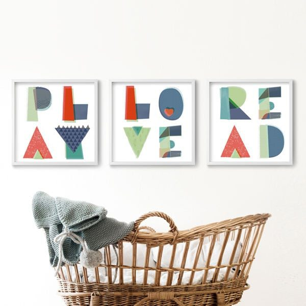 Nursery moses basket square wall art words