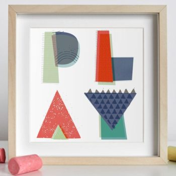 PLAY word wall art print for children nursery
