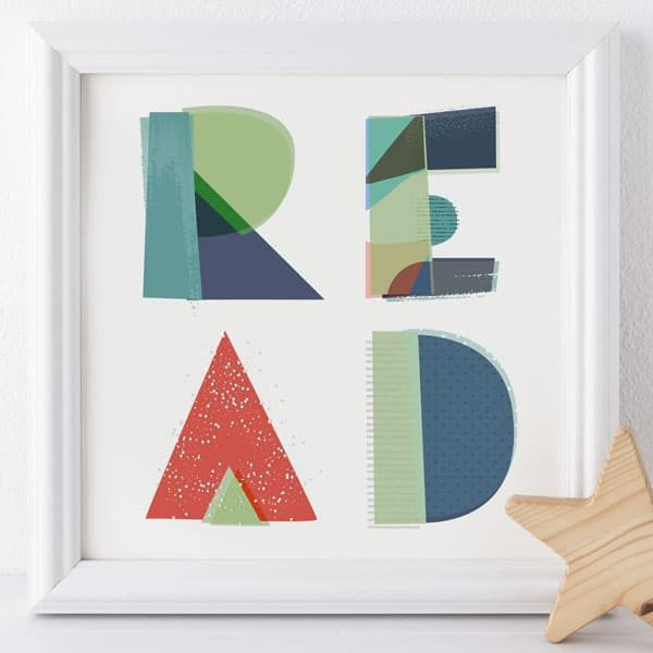 Word print in white frame for nursery's READ