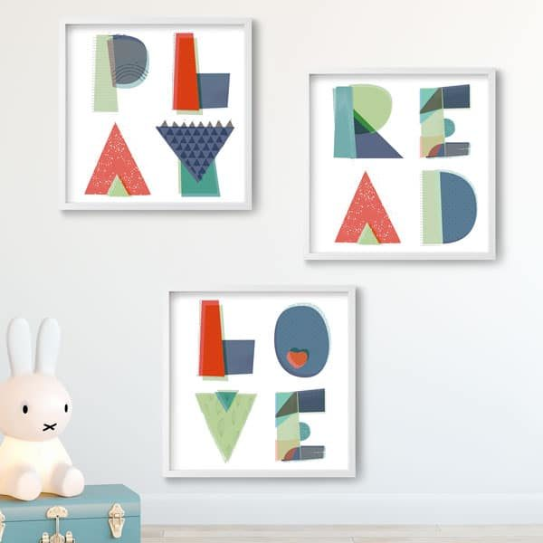 Read Play Love nursery kids wall poster prints