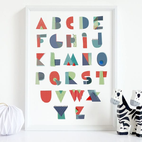 Textured alphabet white framed abc poster for kids bedroom