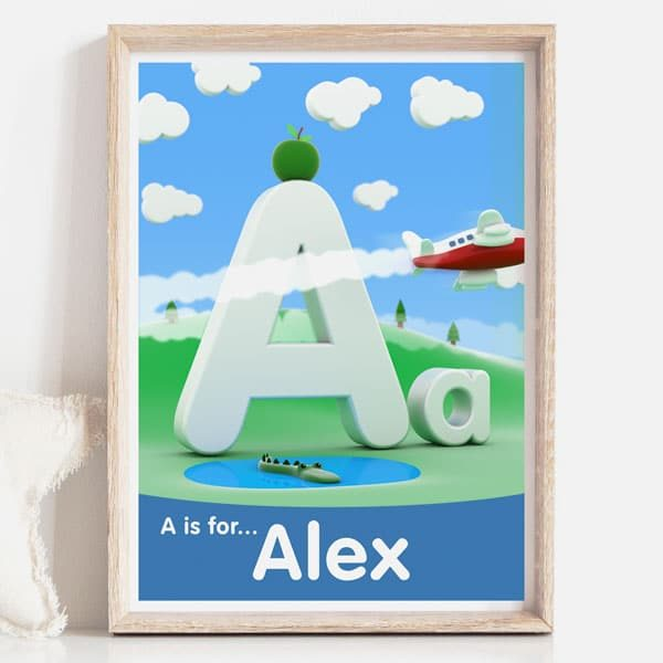 A is for kids decor name sign print