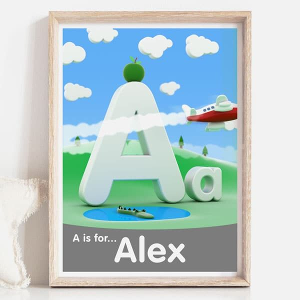 A is for personalised kids decor name sign print grey