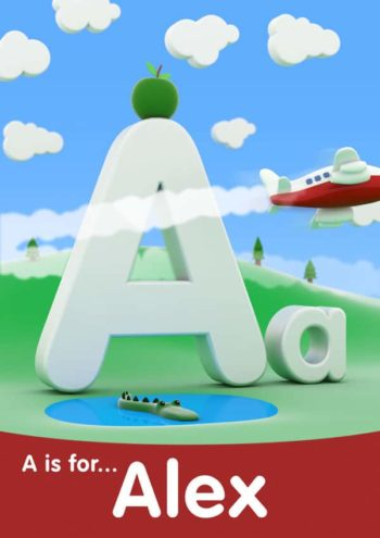 3D letter name print - blue sky red footer