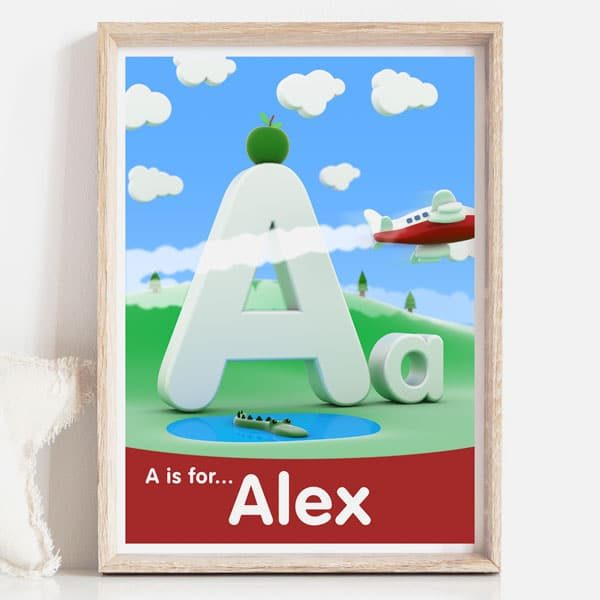 A is for baby name sign print red