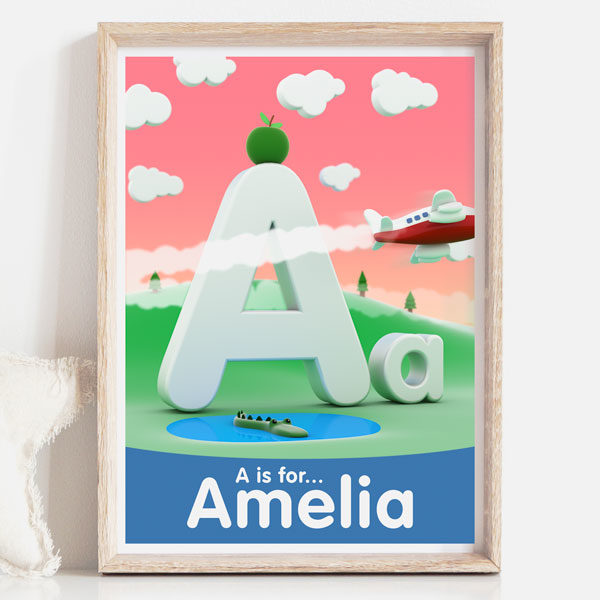 A is for personalised childrens decor name sign print pink background