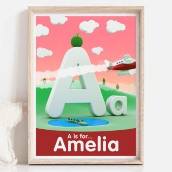 A is for personalised kids decor name sign print pink background