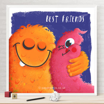 Monster hugs kids bedroom wall art print