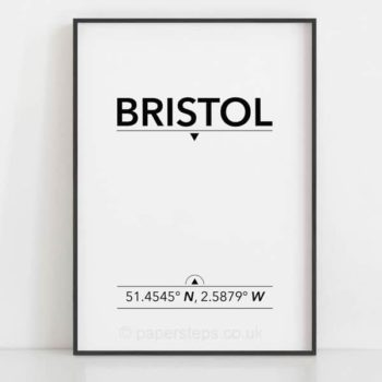 Bristol UK city coordinates poster in a black frame