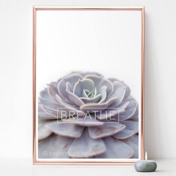 gold framed plant wall art print vertical grey echeveria breathe motivational word BREATHE