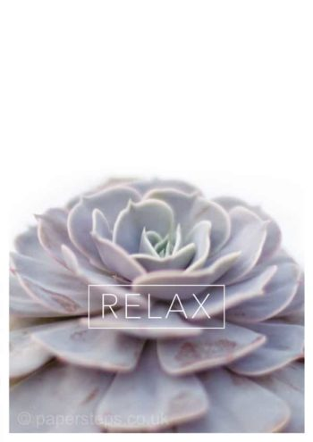 Relax typography on plant poster print