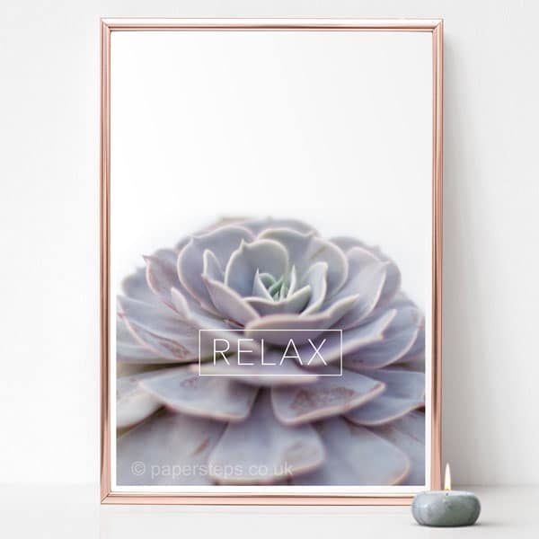 Relax type on gold frame plant poster vertical