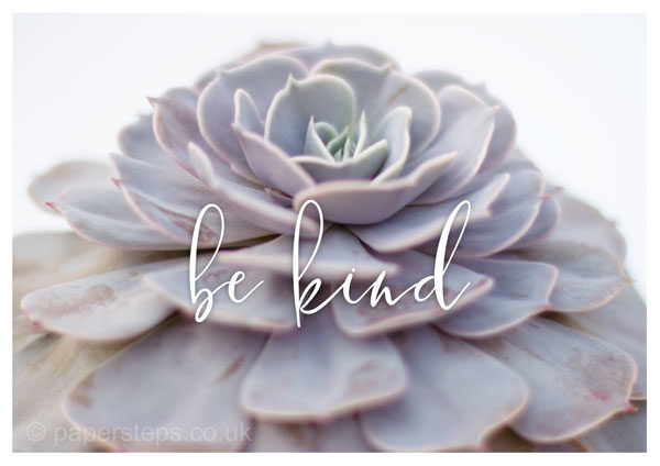 Be kind calligraphy flower poster print