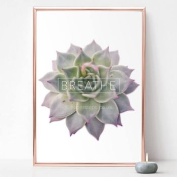 Breathe wall art print typography plant poster in rose gold frame