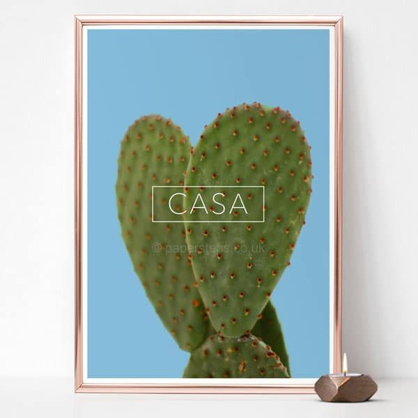 Cactus poster with the minimalist word CASA art print