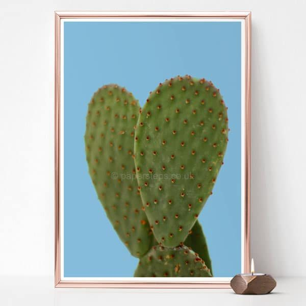 Cactus poster art print, blue background rose gold frame