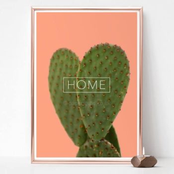 Home decor cactus poster print on Salmon pink