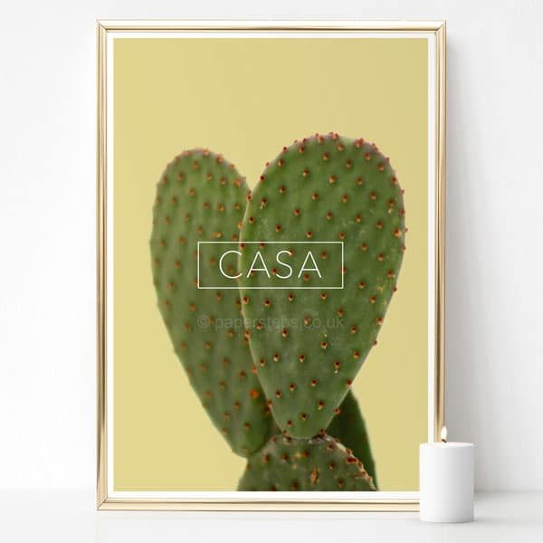 Yellow home decor wall art of Cactus photo and typography CASA