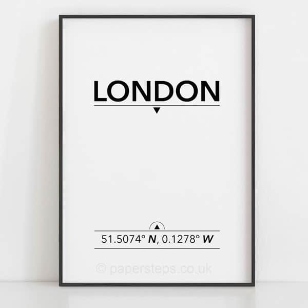 London minimalist typography location coordinates poster print