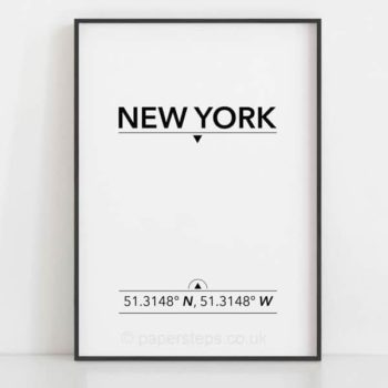 New York USA minimalist typographic location coordinates poster print