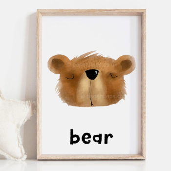 Bear nursery wall art in wooden frame