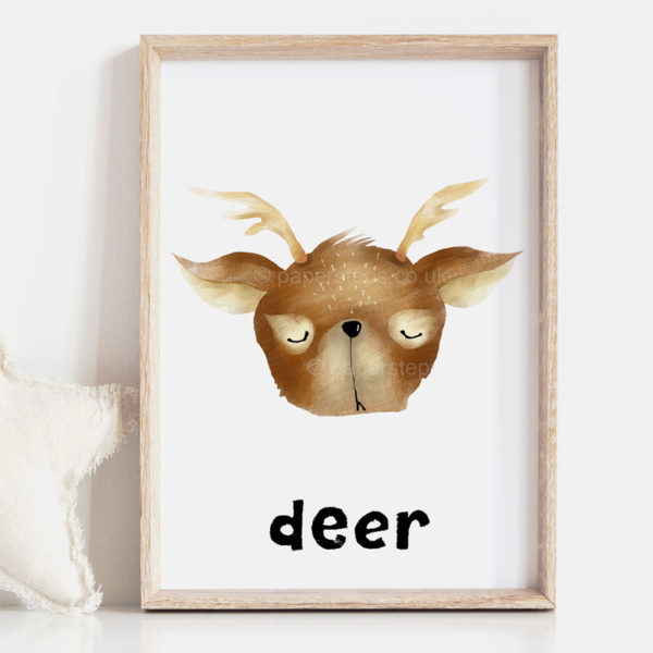 Deer kids wall art woodland wood frame