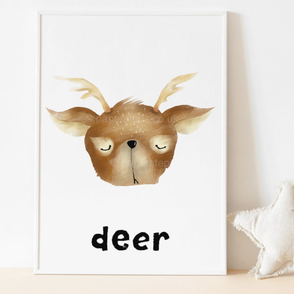 Deer woodland nursery print white frame