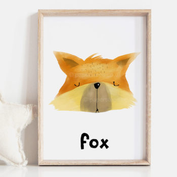 Foxes head hand painted nursery print wooden frame