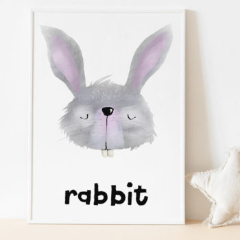 Hand painted rabbit nursery art print white frame